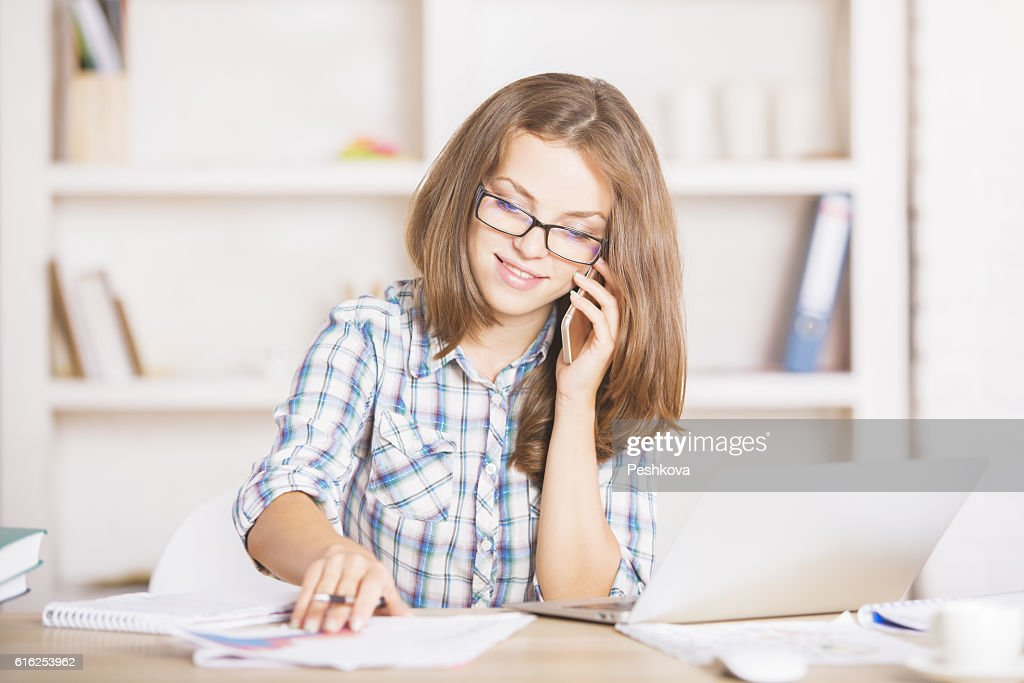 Pretty businesswoman on phone : Foto de stock