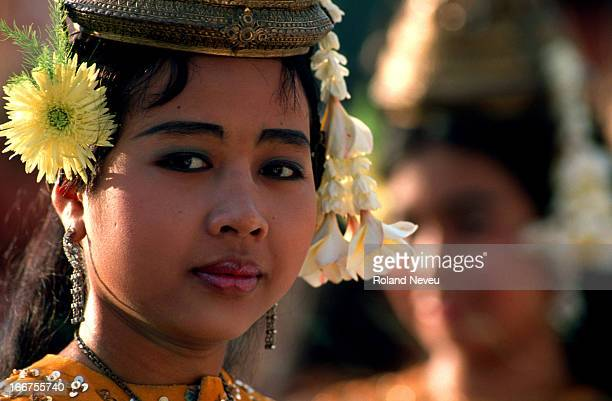 A pretty Cambodian woman at a show inside the temple of Angkor Wat