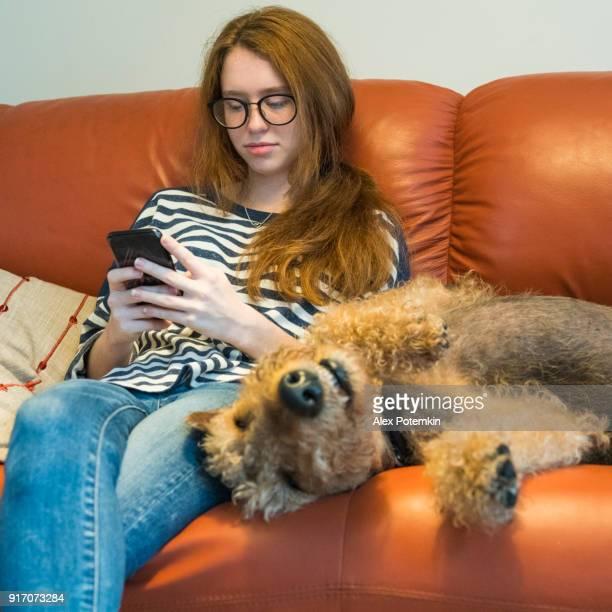 Ziemlich Caucasian Teenager Mädchen Surfen, social Media und der Airedale-Terrier Hund neben hier auf dem Sofa schlafen