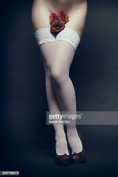 pretty female legs with roses - black stockings stock photos and pictures