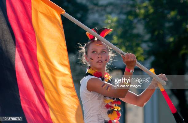 Pretty German girl celebrating a win during the 2010 soccer world cup