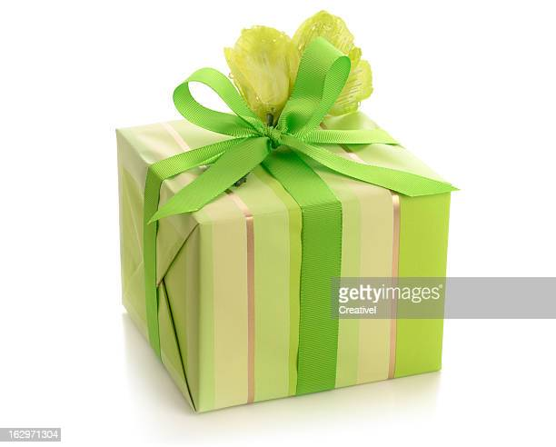 Pretty gift wrapped box, tied with green ribbon