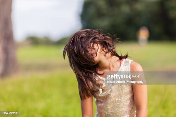 Pretty girl enjoying herself.