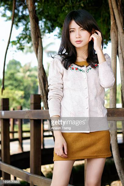 pretty girl - asian short skirt stock photos and pictures