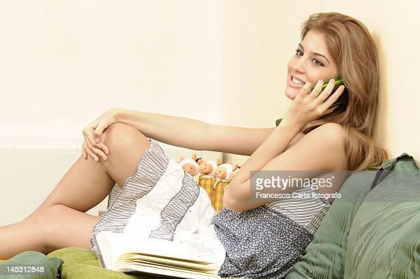 Pretty girl talking on phone.