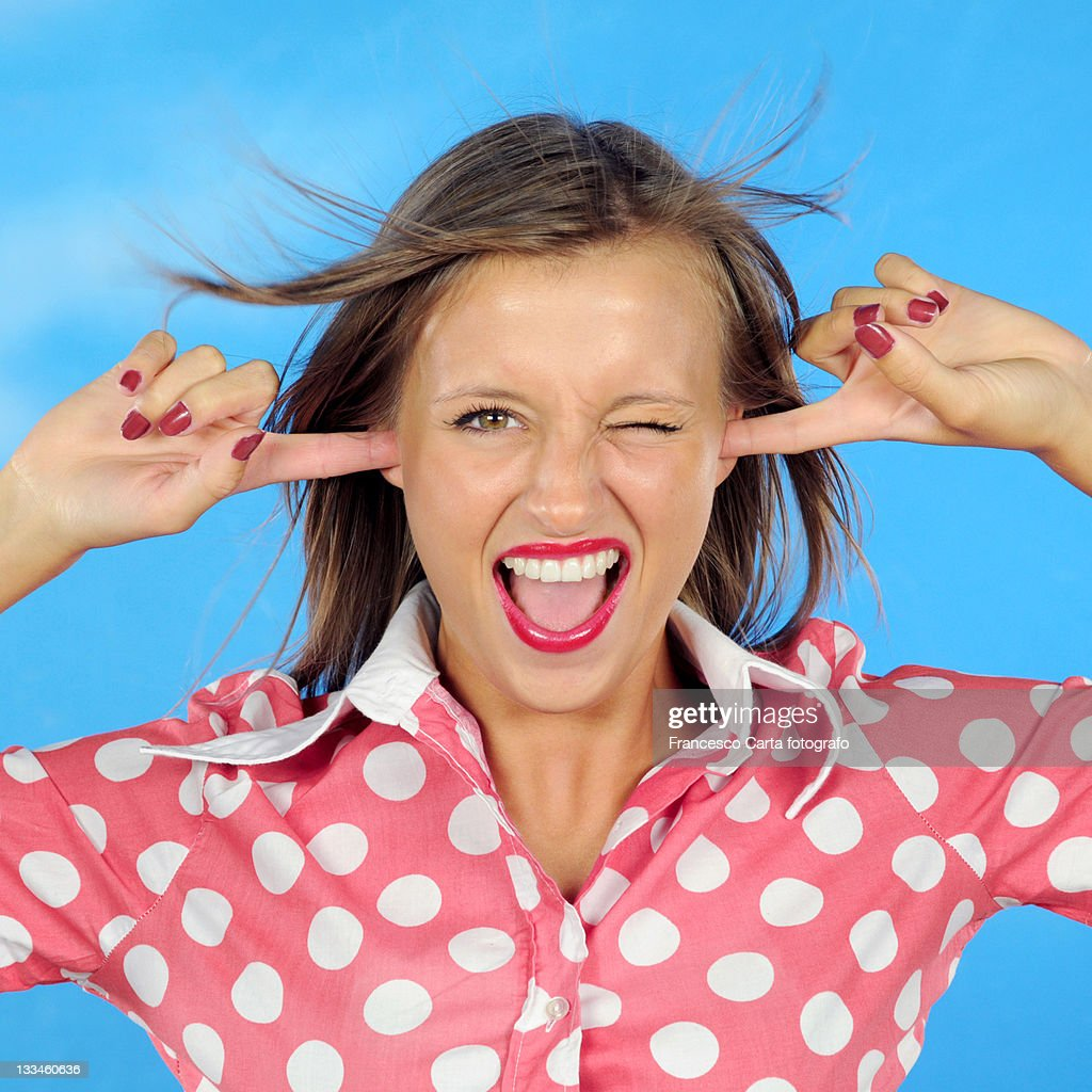 Pretty girl with hair in wind. : Stock Photo