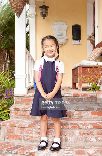 pretty little girl ready for first day at school - school girl shoes stock pictures, royalty-free photos & images