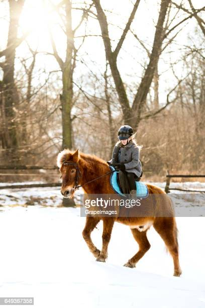 Pretty little girl roding a horse on sunny winter day.
