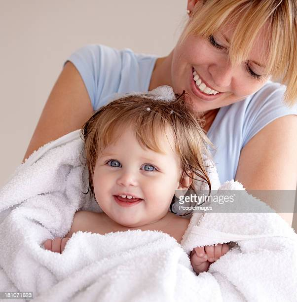 pretty little thing - kids taking a shower stock photos and pictures