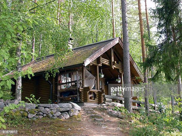 a pretty log cabin in the woods - log cabin stock pictures, royalty-free photos & images