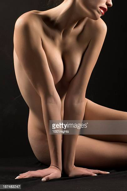 pretty nude woman - cleavage breasts stock photos and pictures
