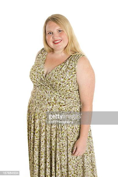 Pretty Overweight Smiling Woman Isolated on whte