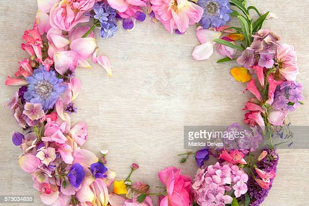 pretty pastel pink and purple flower wreath - whitewashed stock pictures, royalty-free photos & images