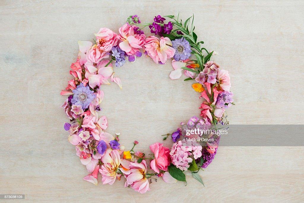 Pretty pastel pink and purple flower wreath : ストックフォト