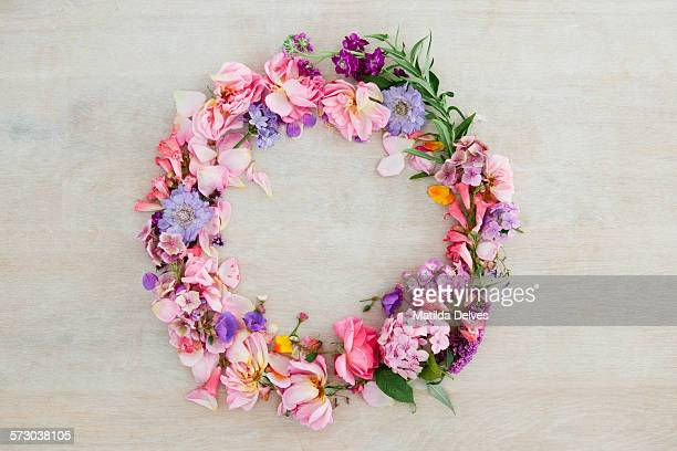 Pretty pastel pink and purple flower wreath