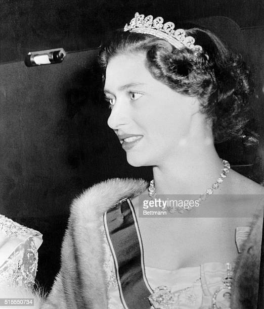 Pretty Princess Margaret sister of Queen Elizabeth II is shown as she arrived at Buckingham Palace for the state banquet in honor of Haile Selassie...