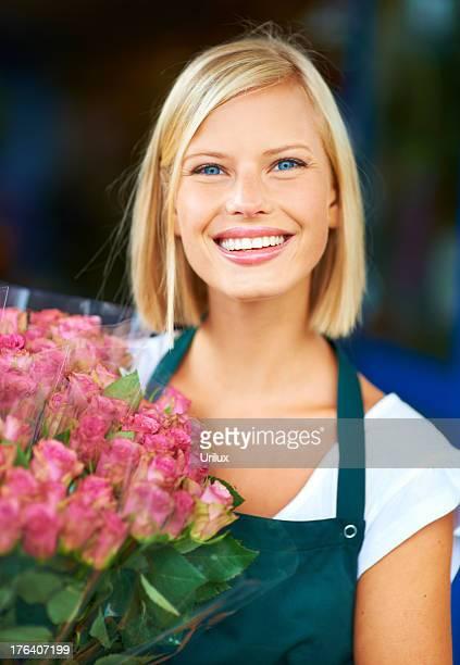 Pretty roses for a pretty girl