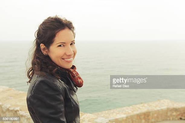 pretty smiling woman at viewpoint - castellon province stock pictures, royalty-free photos & images