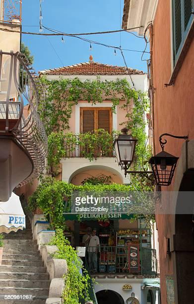 Pretty street scene in Positano, Italy