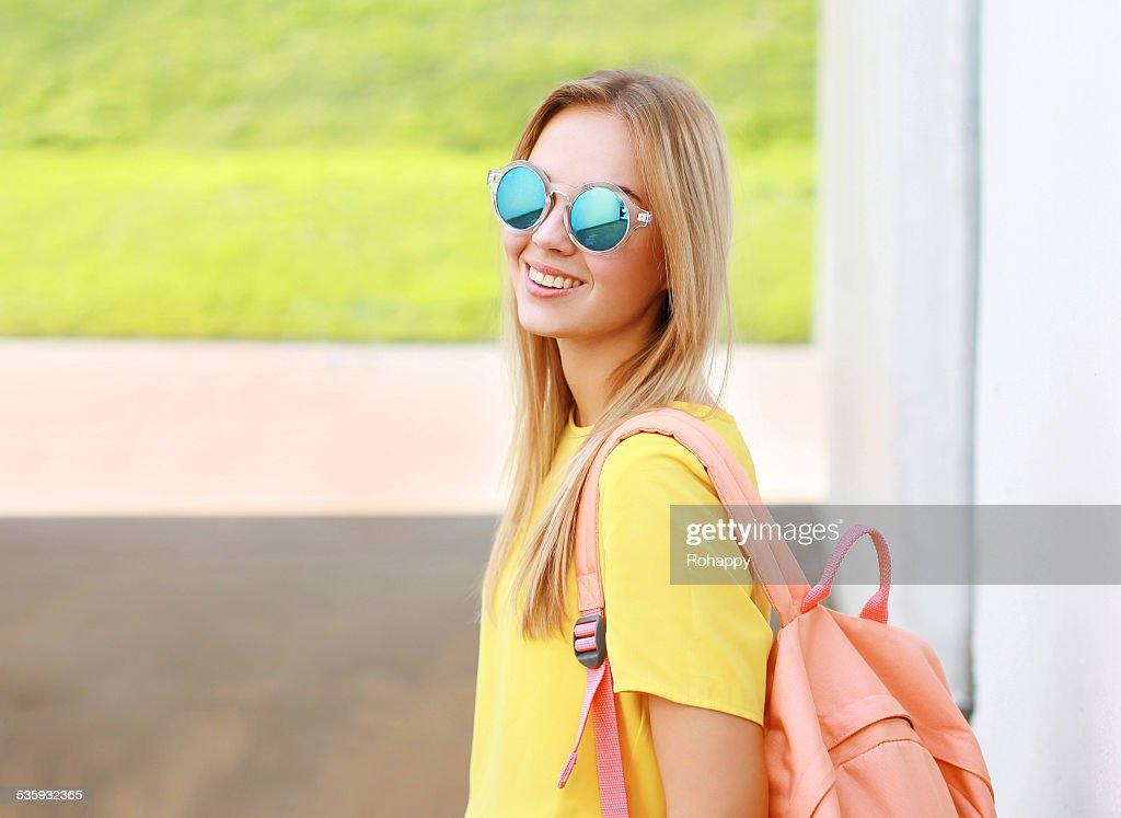 Pretty stylish woman in sunglasses outdoors : Stock Photo