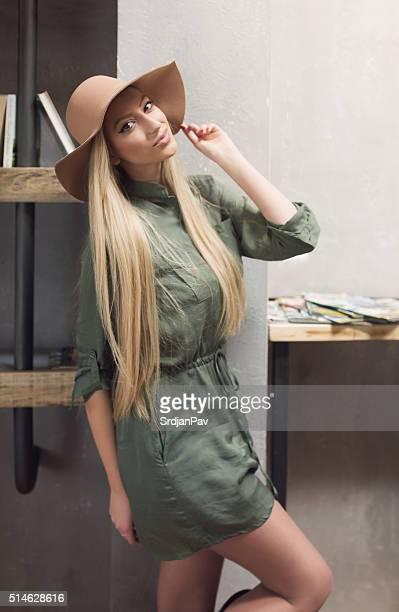 pretty sweet with a hat - beautiful czech women stock photos and pictures
