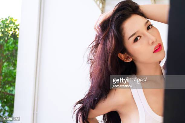 pretty thai transgender with long hair - ladyboys stock pictures, royalty-free photos & images