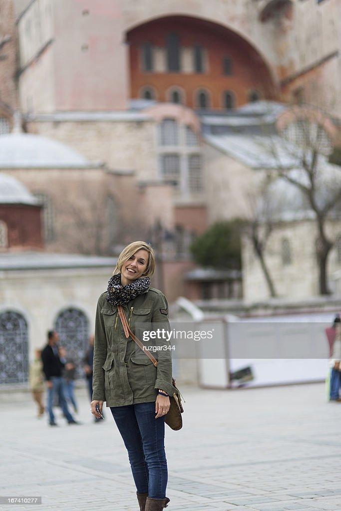 Pretty traveller woman - Hagia Sophia Museum in the background : Stock Photo