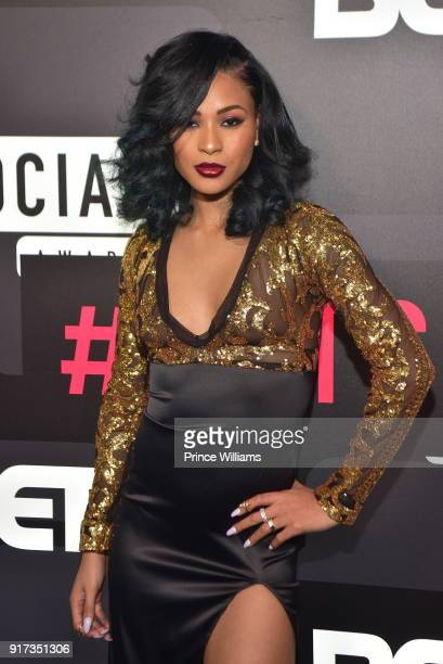 Pretty V attends BET Social Awards Red Carpet at Tyler Perry Studio on February 11 2018 in Atlanta Georgia