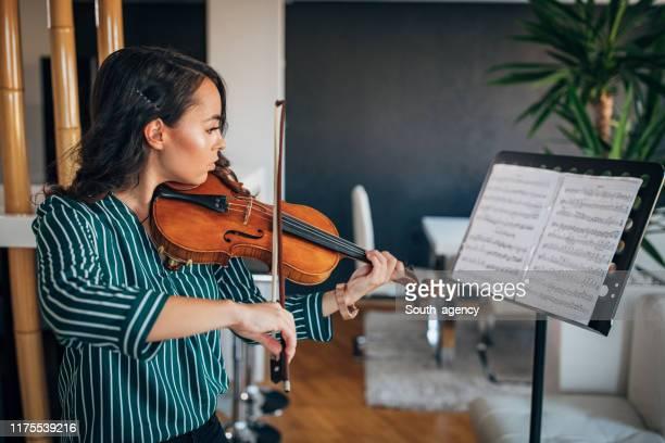 pretty violinist woman - stringed instrument fotografías e imágenes de stock