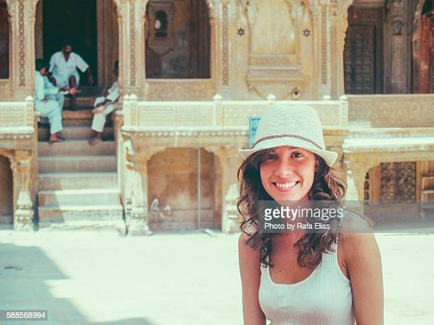 Pretty woman at Indian temple
