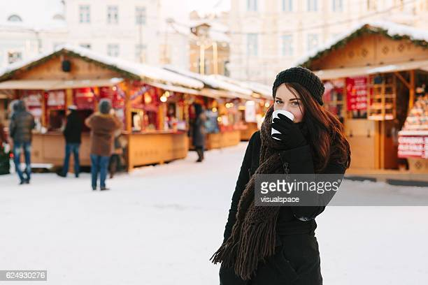 Pretty Woman at the Christmas Market