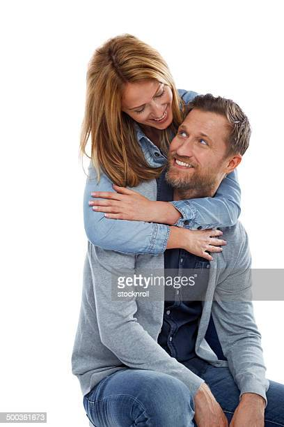 Pretty woman embracing her boyfriend
