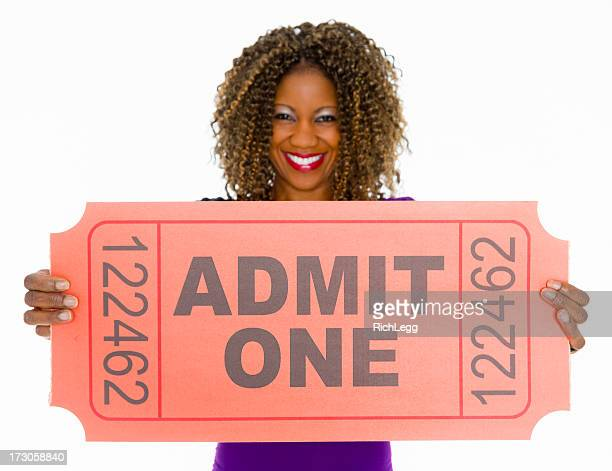 pretty woman holding ticket - lotterytickets stock pictures, royalty-free photos & images