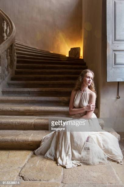 pretty woman in a castle - historical romance stock photos and pictures