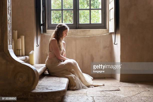 pretty woman in a castle - 18th century stock pictures, royalty-free photos & images