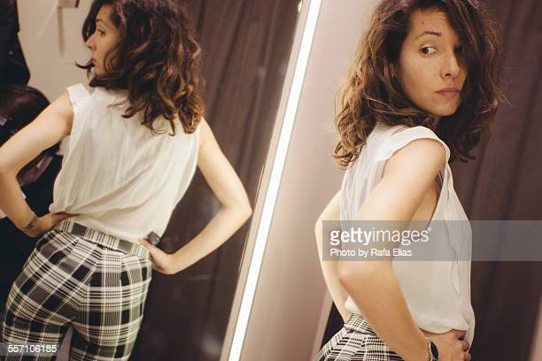 pretty woman in the changing room - arse stock pictures, royalty-free photos & images