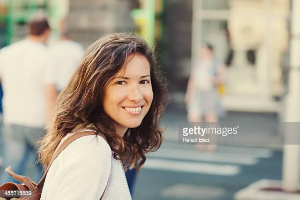 pretty woman on zebra crossing - スペイン・ポルトガル系民族 ストックフォトと画像