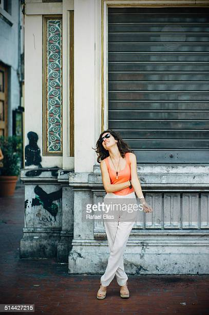 Pretty woman standing in the street