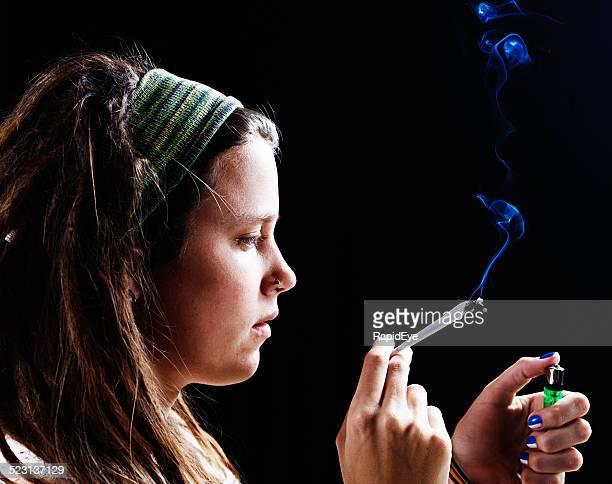 Pretty woman trying marijuana