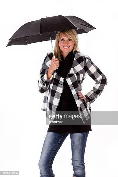 Hermosa mujer con paraguas aislado