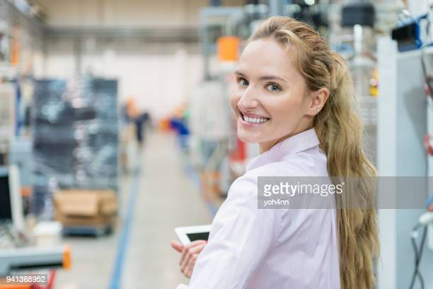 pretty worker at factory - beautiful czech women stock photos and pictures