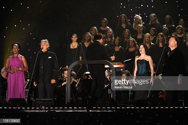 Pretty Yende Andrea Bocelli Ana Maria Martinez and Bryn Terfel perform at the Central Park Great Lawn on September 15 2011 in New York City