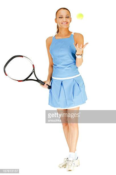 hübsche junge mädchen spielen tennis auf weißem hintergrund - trefferversuch stock-fotos und bilder