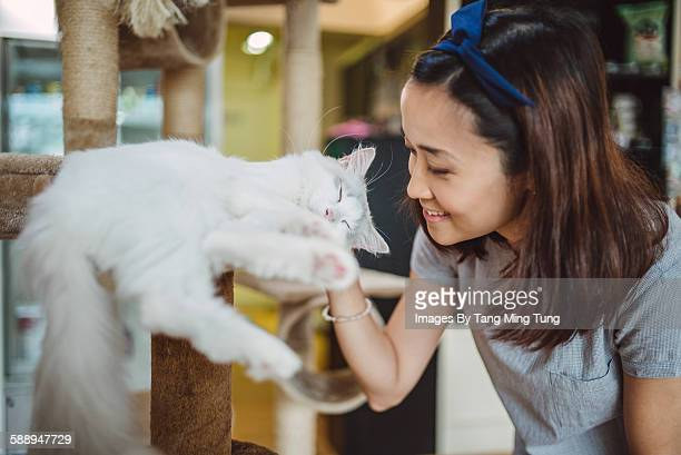 Pretty young lady playing with kitten joyfully