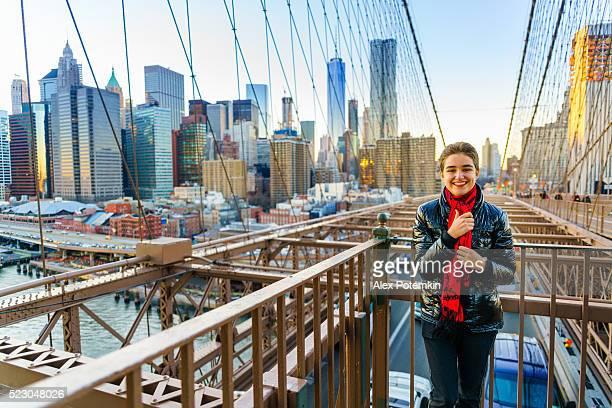 Pretty young woman at the Brighton Bridge, New York City