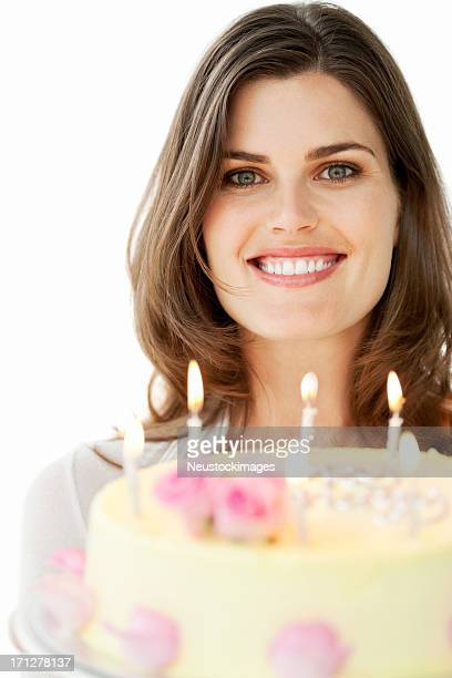 Pretty Young Woman Holding Birthday Cake - Isolated