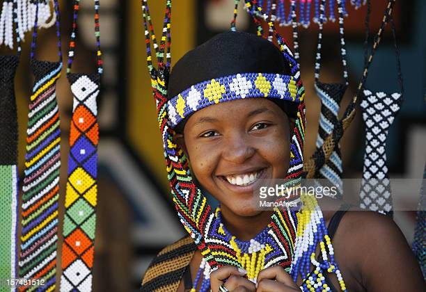 pretty zulu girl in beads - native african girls stock photos and pictures