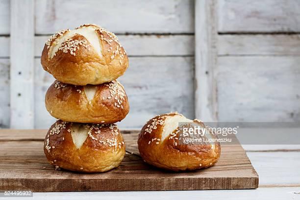 Pretzel hamburger buns