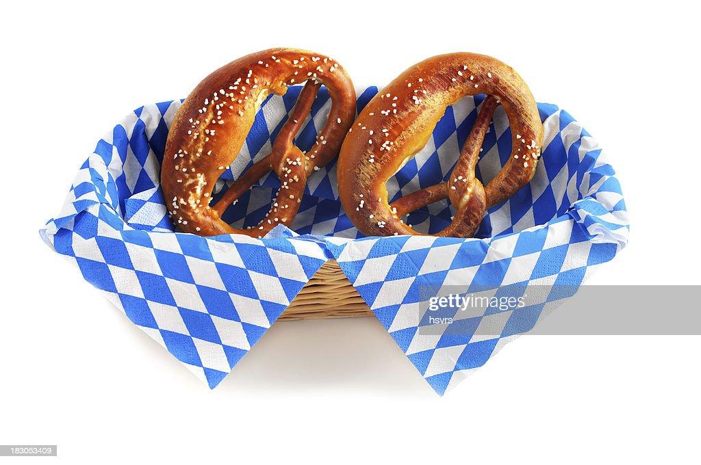 pretzel on blue white bavarian napkin typical oktoberfest food stock