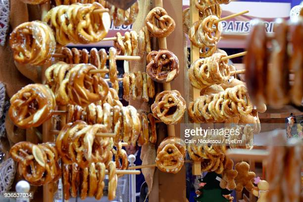 pretzels at market for sale - colmar stock photos and pictures